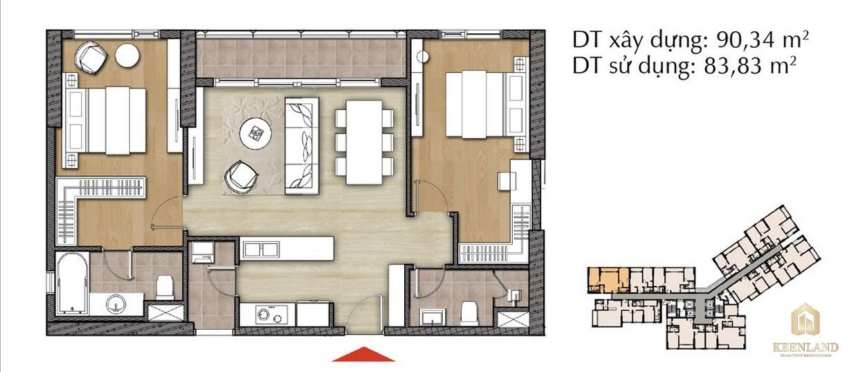 Thiết kế căn hộ 2PN - Mã 2C tại Đảo Kim Cương Diamond Island