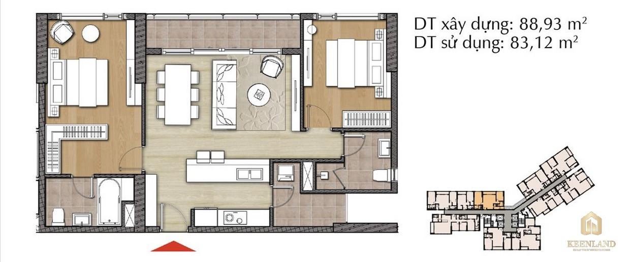Thiết kế căn hộ 2PN - Mã 2D tại Đảo Kim Cương Diamond Island
