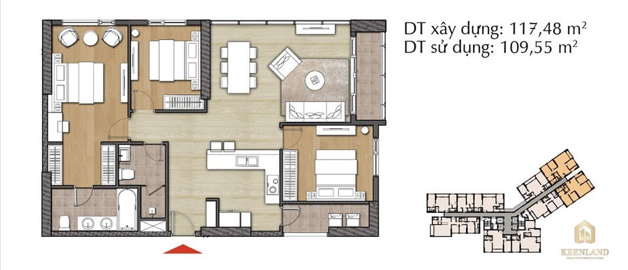 Thiết kế căn hộ 3PN - Mã 3A tại Đảo Kim Cương Diamond Island