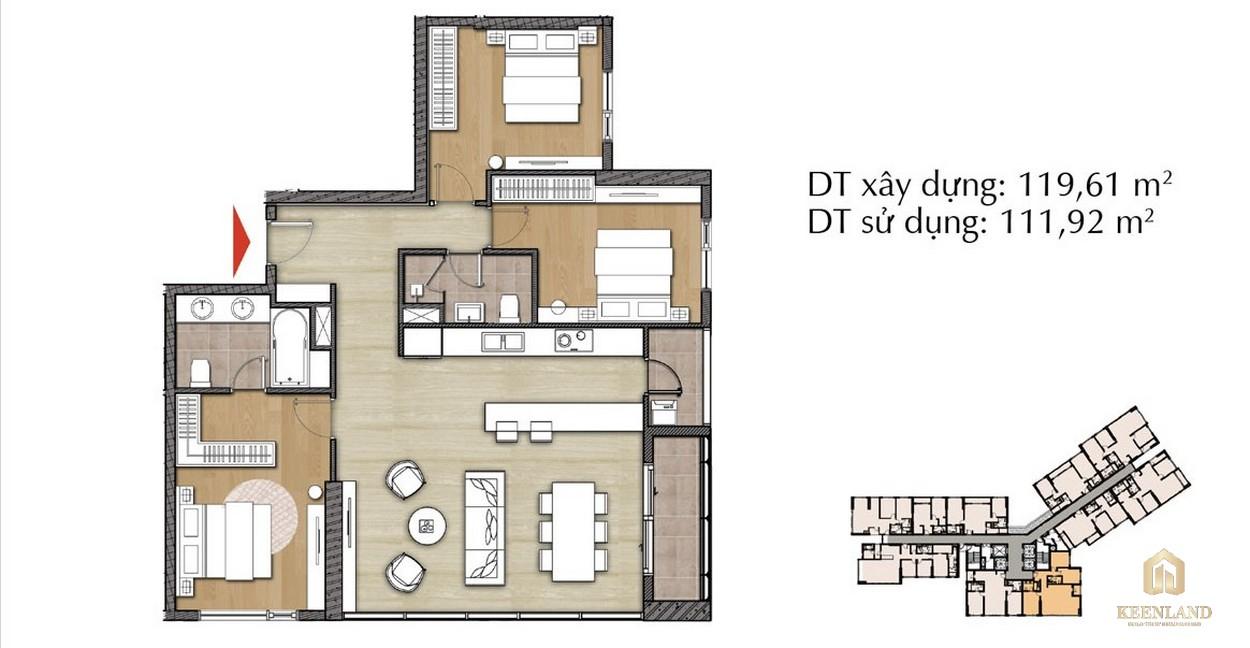 Thiết kế căn hộ 3PN - Mã 3B tại Đảo Kim Cương Diamond Island