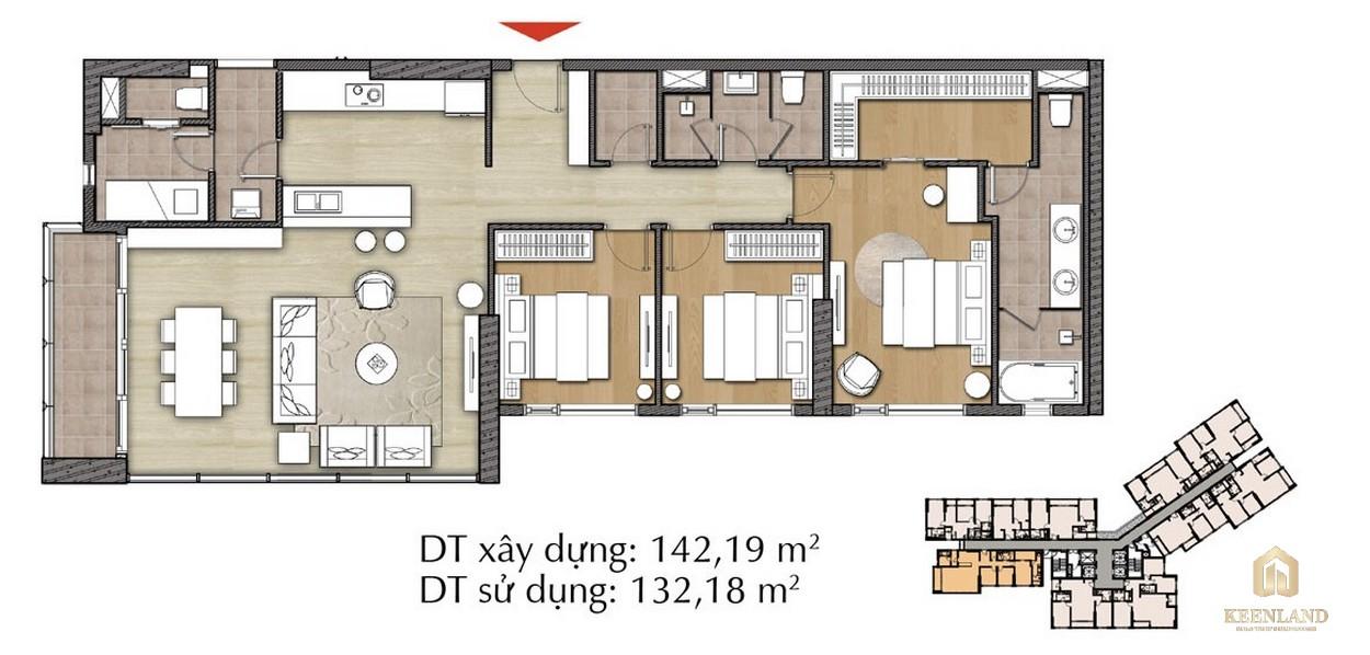 Thiết kế căn hộ 3PN - Mã 3C tại Đảo Kim Cương Diamond Island