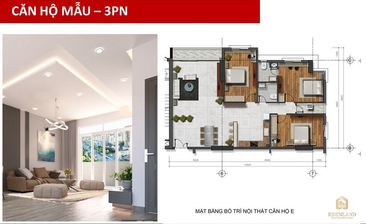 Thiết kế căn hộ mẫu 3 PN Golden Grand quận 2