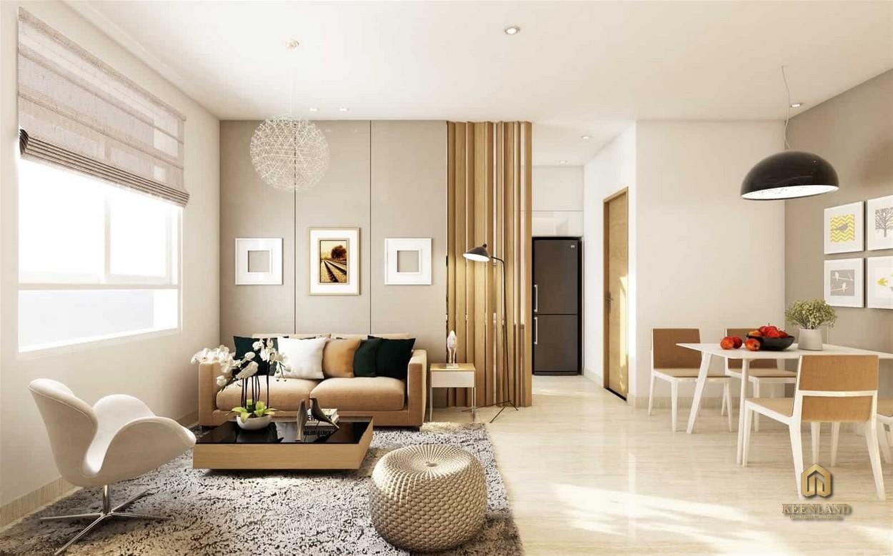 Thiết kế phòng khách căn hộ mẫu The Gold View