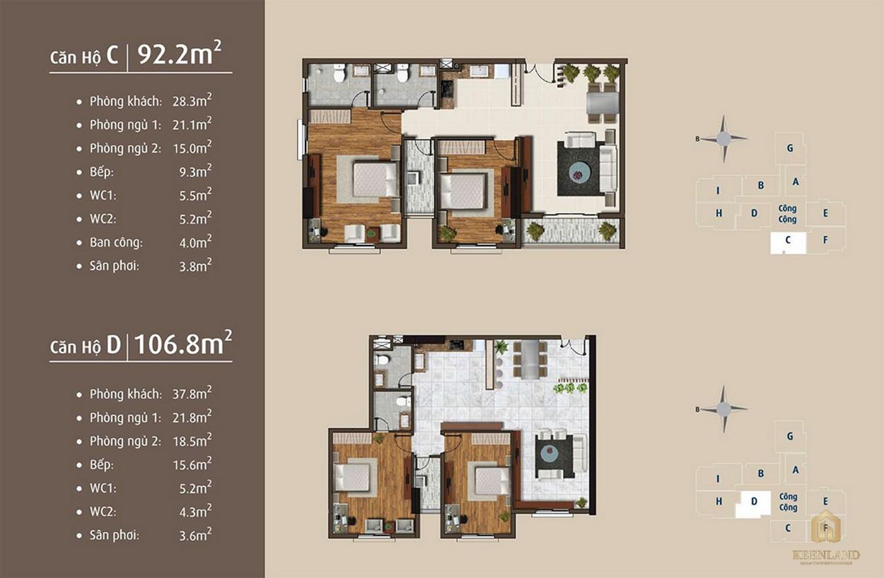 Thiết kế chi tiết căn hộ C - D dự án Golden Grand quận 2