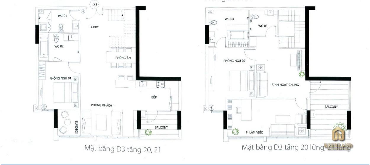 Thiết kế chi tiết căn hộ penthouse D3
