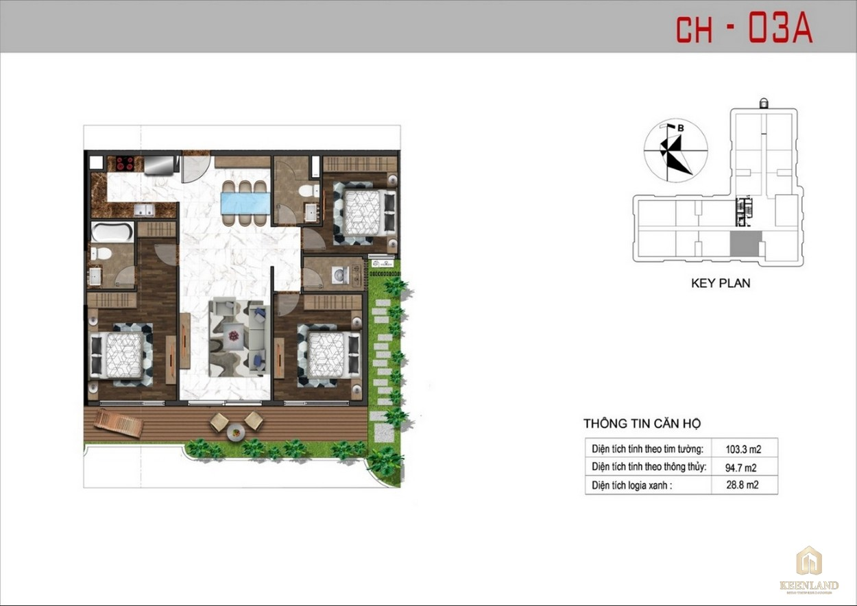 Thiết kế căn hộ 3A dự án Sunshine Tower
