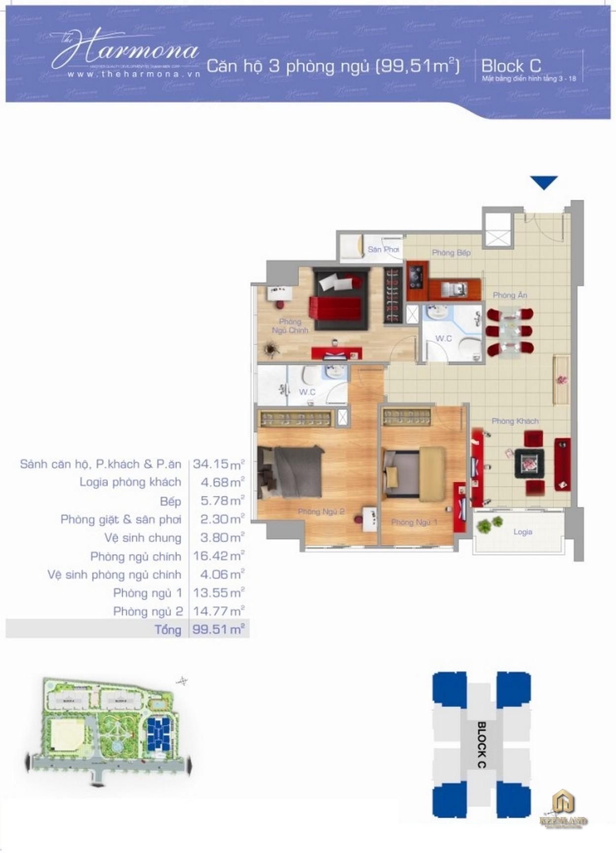 Thiết kế chi tiết căn hộ The Harmona