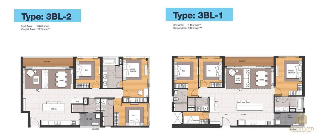 Thiết kế chi tiết căn hộ 3PN dự án Empire City Quận 2