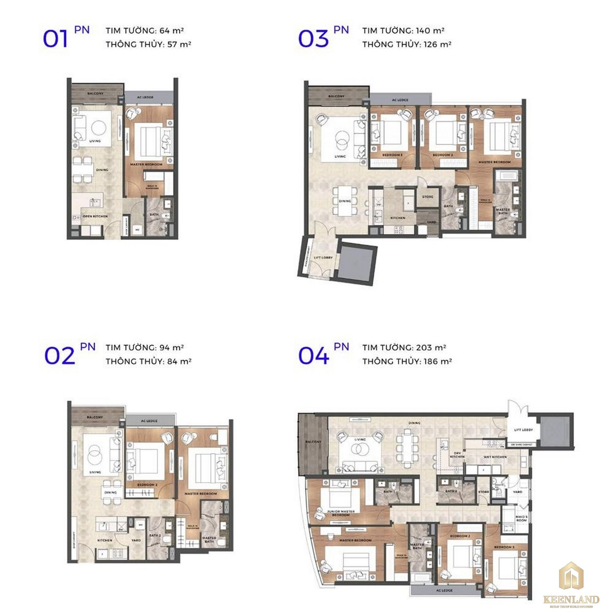 Thiết kế các loại căn hộ dự án THE RIVER