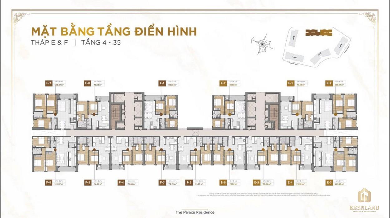 Mặt bằng tầng điển hình dự án The Palace Residence Quận 2