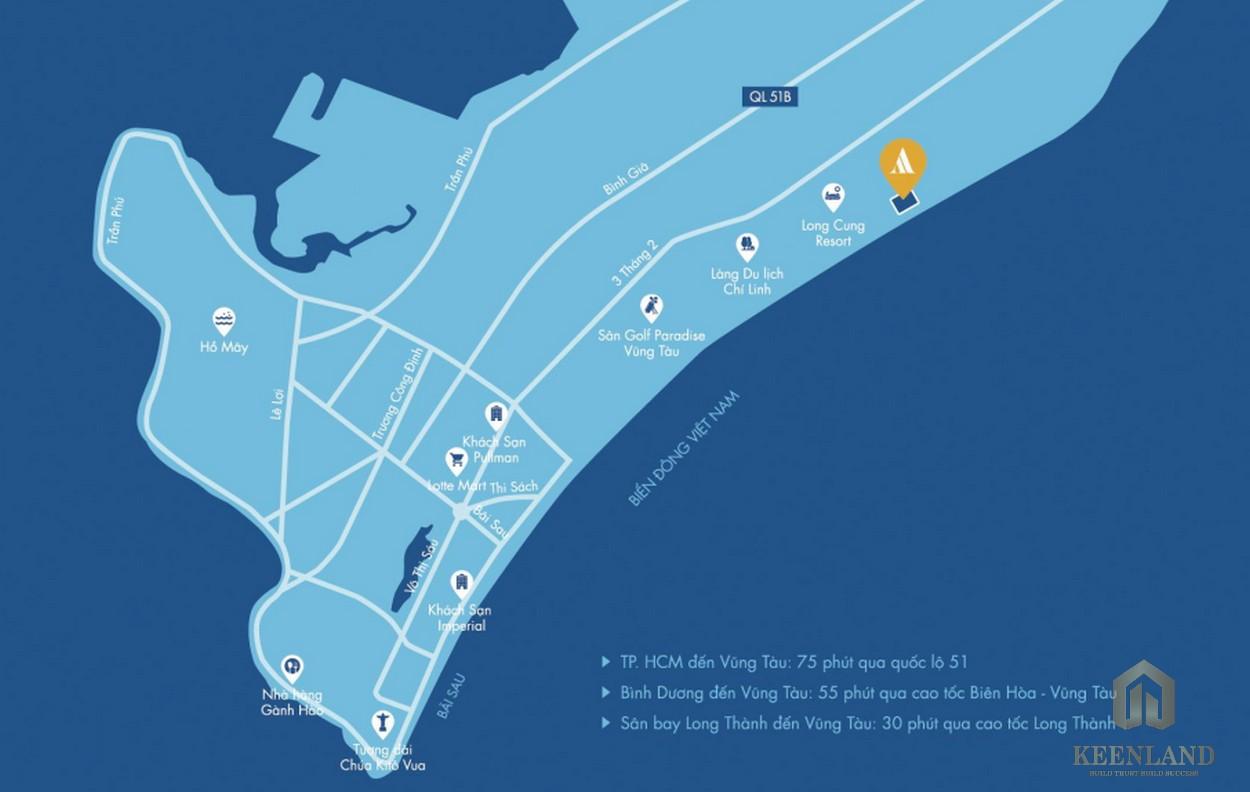 Vị trí dự án căn hộ nghỉ dưỡng Aria Vũng Tàu