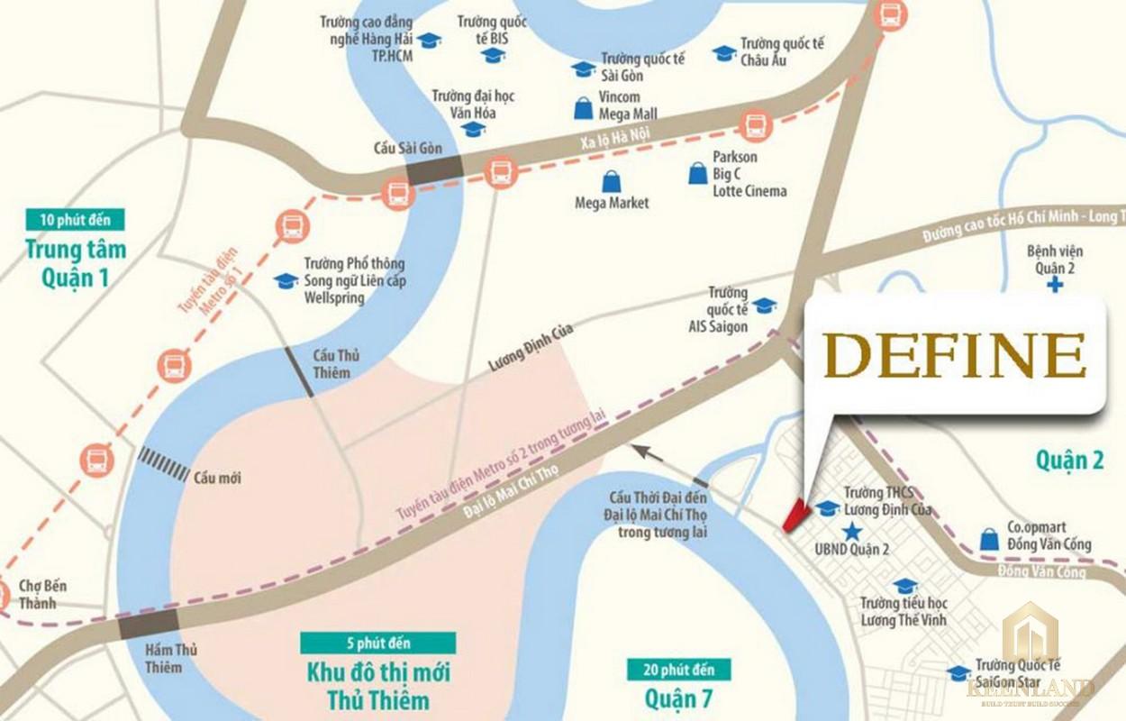 Kết nối vị trí dự án căn hộ Define quận 2