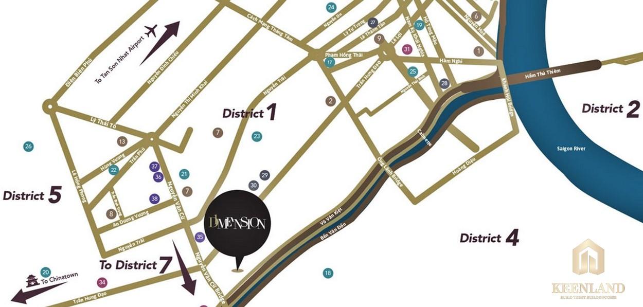 Vị trí dự án căn hộ cao cấp D1 Mension Quận 1