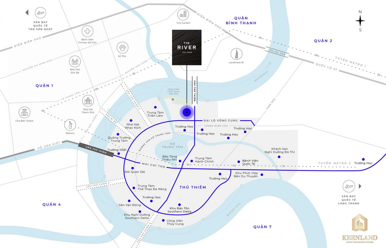 Vị trí dự án The River quận 2 trong Khu dân cư Thủ Thiêm