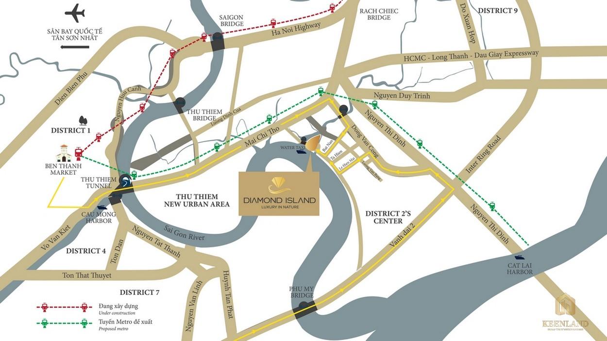 Vị trí đắc địa dự án Đảo Kim Cương Diamond Island tại khu đô thị mới Thủ Thiêm
