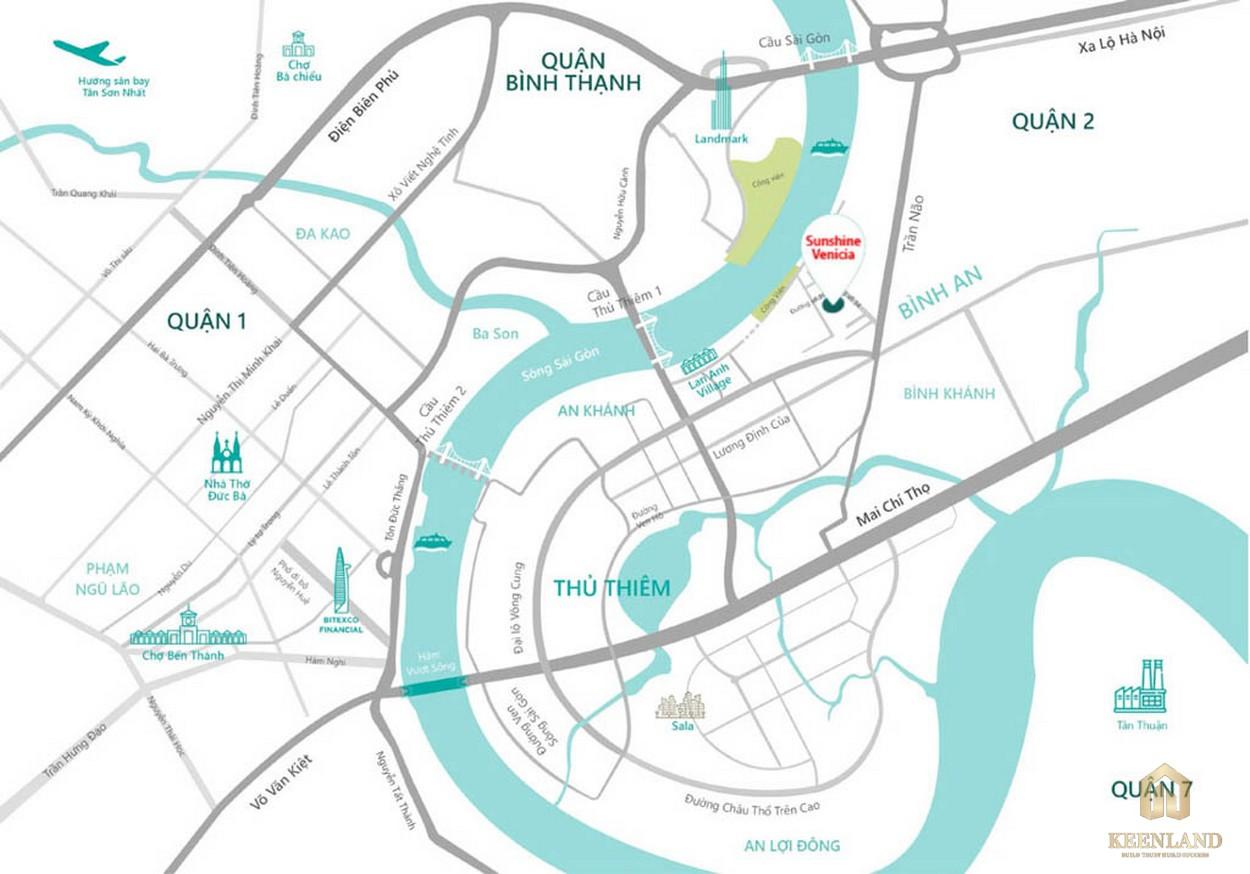 Vị trí địa chỉ dự án Sunshine Venicia tại Thủ Thiêm quận 2