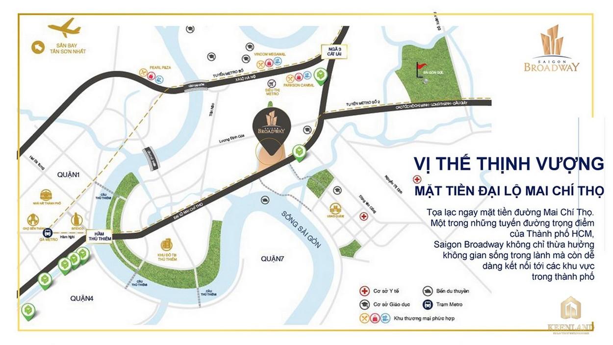 Vị trí đắc địa tại trung tâm quận 2 dự án Saigon Broadway