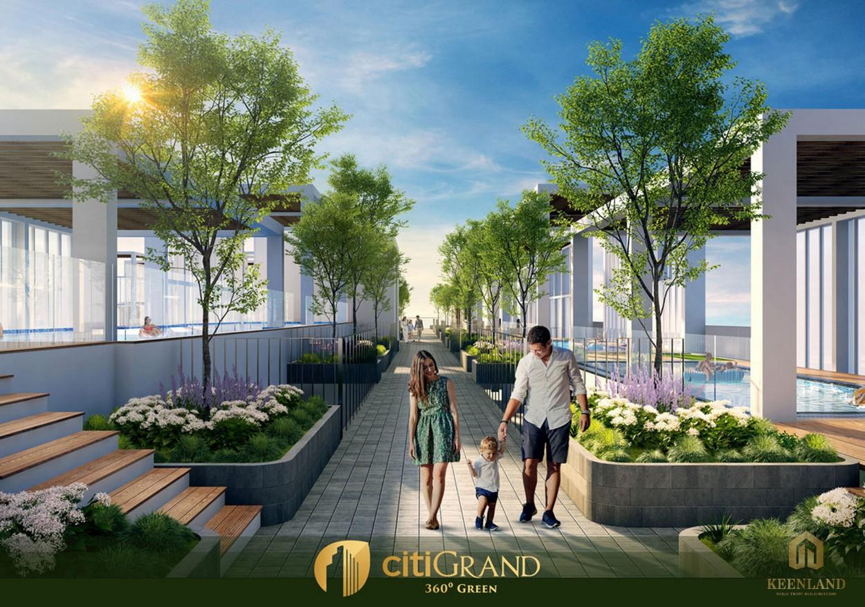 Khuôn viên, lối đi bộ trong dự án căn hộ Citi Grand Quận 2