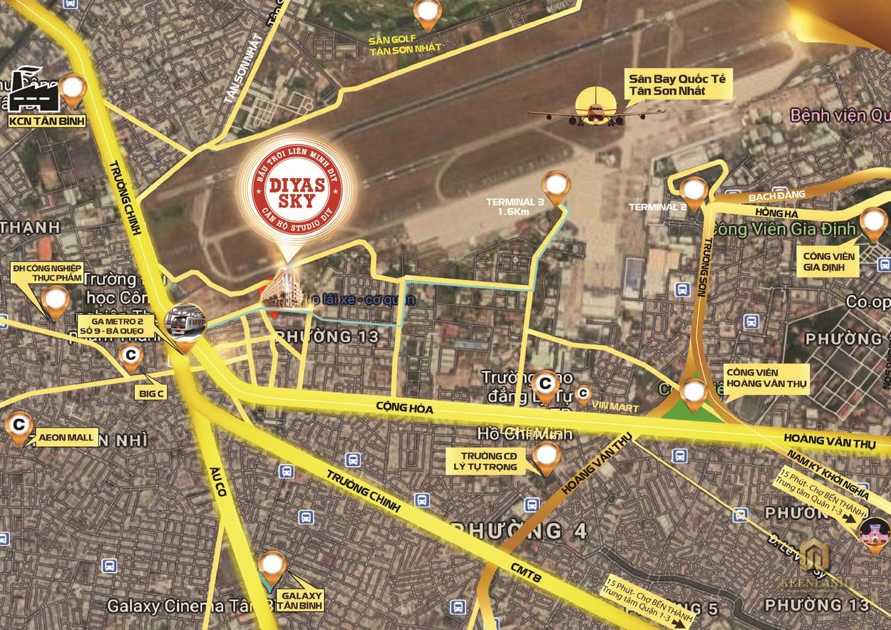 Vị trí địa chỉ dự án căn hộ Diyas Sky Tân Bình