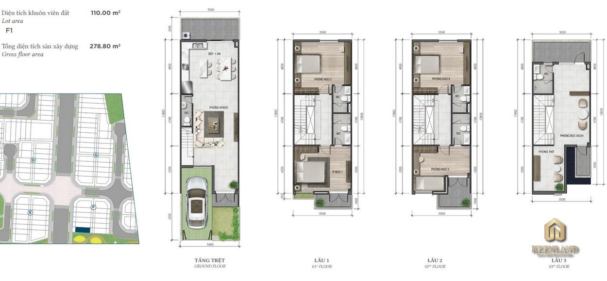 Thiết kế nhà phố Merosa Park diện tích 5x22m