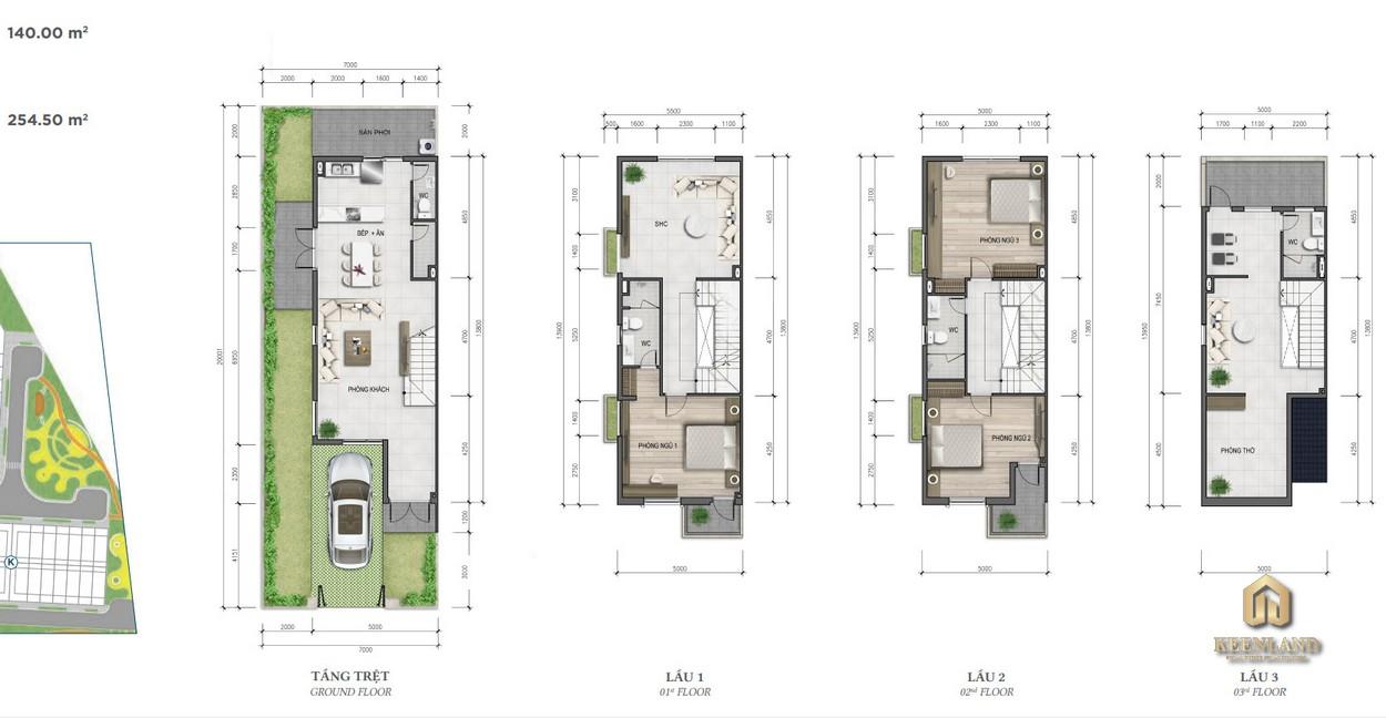 Thiết kế nhà phố Merosa Park diện tích 7x20m