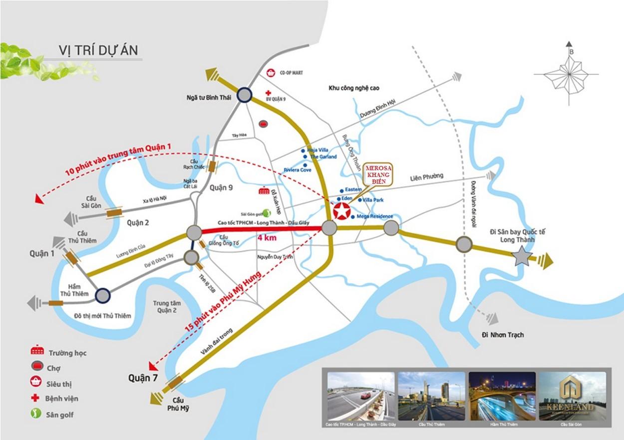 Vị trí dự án Merosa Khang Điền Quận 9